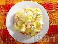 Рецепта Зелена салата с айсберг, авокадо, краве сирене и дресинг от зехтин, лимон и горчица